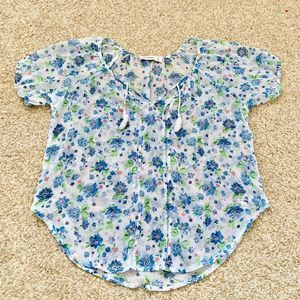 Abercrombie kids XL sheer white & blue floral Top
